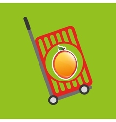 trolley shop juicy peach fruit vector image