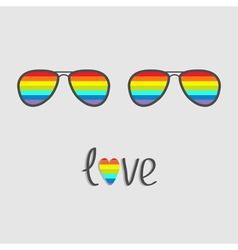 Two glasses with rainbow lenses word love vector