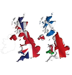 UK Flag Map Inner Shadow vector image