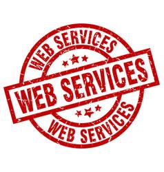 Web services round red grunge stamp vector