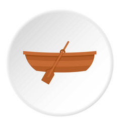 Wooden boat icon circle vector