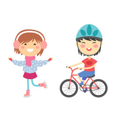 young kids sportsmens future roller skates vector image