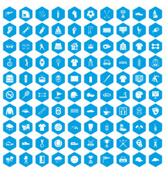 100 sport club icons set blue vector