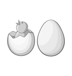 Chick in egg icon black monochrome style vector