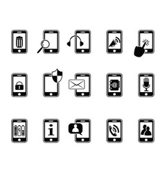 Black icons for mobile phone vector
