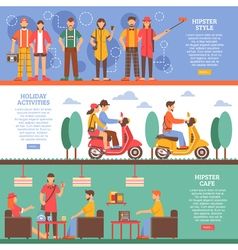 Hipster people horizontal banners vector