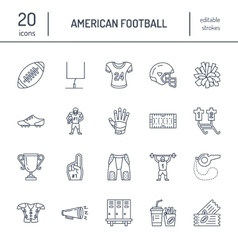 line icons of american football game vector image