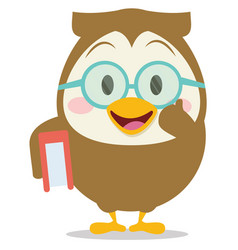 owl with book character vector image