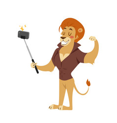 Funny picture lion photographer mamal person take vector