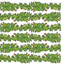 Seamless pattern with prickly pear cactus vector