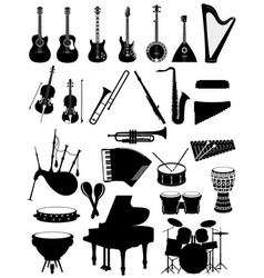 Musical instruments set icons black silhouette vector