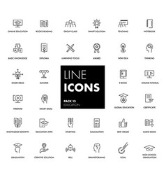 line icons set education vector image