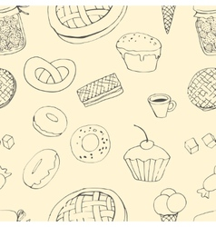 Seamless pattern with sweets vector