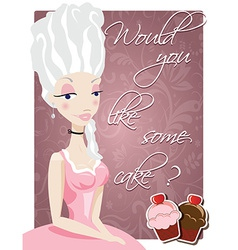 Poster with queen marie antoinette and cakes vector