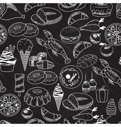 Seamless food on chalkboard background vector