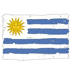 Flag of uruguay handmade vector