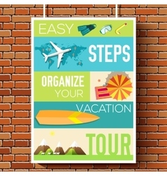 Easy steps organize for your vacation tour flyer vector