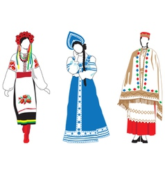 Women in their national costumes vector