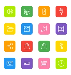 white line web icon set colorful rounded rectangle vector image