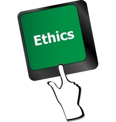 Ethics concept on the modern computer keyboard key vector