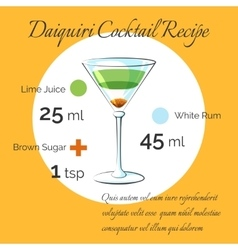 Daiquiri cocktail receipt poster vector
