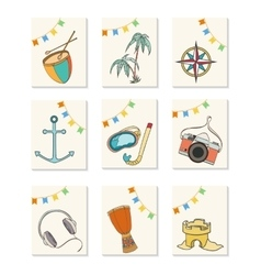 Summer hand drawn icons vector