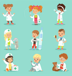 Adorable kids playing doctor set smiling little vector