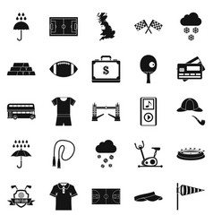 athletic behavior icons set simple style vector image