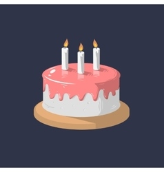 Birthday cake icon with candles graphi vector