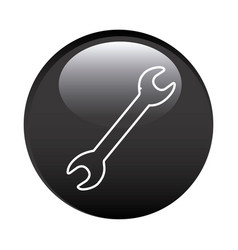 Black circular frame with wrench tool icon vector