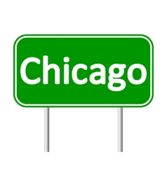 Chicago green road sign vector