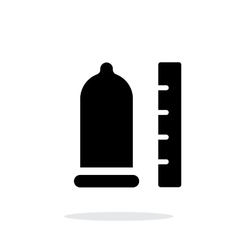 Condom with ruler icon on white background vector
