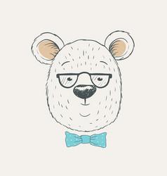 cute bear head vector image vector image