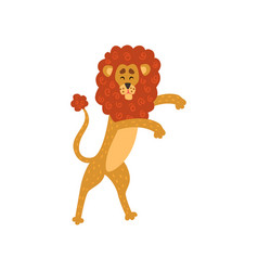 Cute lion cartoon character standing on two legs vector