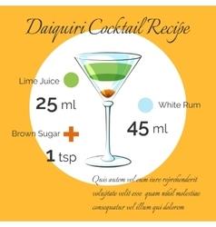 Daiquiri cocktail receipt poster vector
