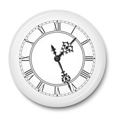 Elegant wall clock with roman numerals in white vector