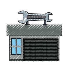 Garage door mechanic vector