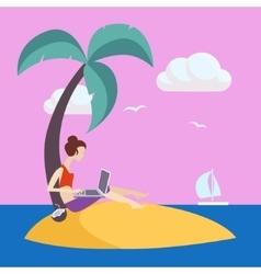 Girl on small island working freelance vector