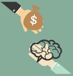 hand of businessman to change the brain to money vector image vector image