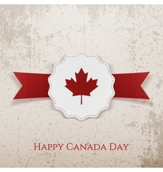 Happy canada day festive tag with type and ribbon vector