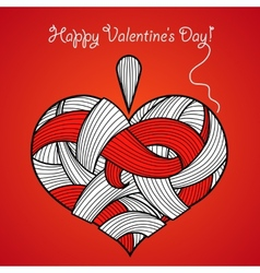 Happy valentines day card with knitted heart vector