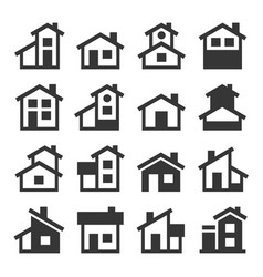Houses buildings icons set vector