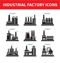 Industrial Factory Icons - Set vector image vector image