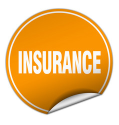 Insurance round orange sticker isolated on white vector