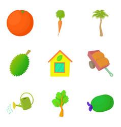 Irrigation icons set cartoon style vector