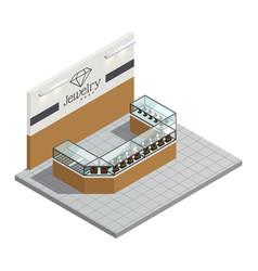 Jewelry store isometric interior vector