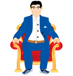 Man in easy chair vector