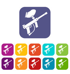 Paintball marker icons set vector