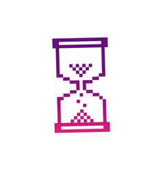 Purple pixel hourglass icon vector