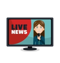 Reporter live news isolated icon vector